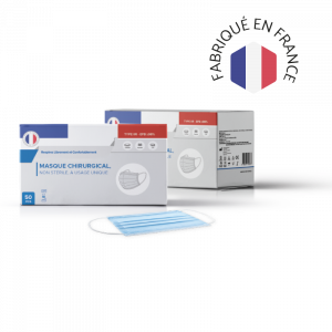 Adulte – Masque Chirurgical Bleu – TYPE IIR (Made in France)<br><small>Boîte de 50 masques</small>